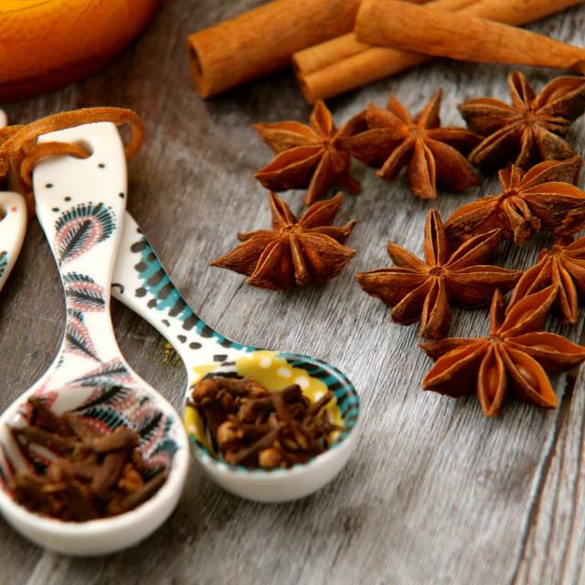 """""""Spoons of cloves and autumn spices"""" stock image"""