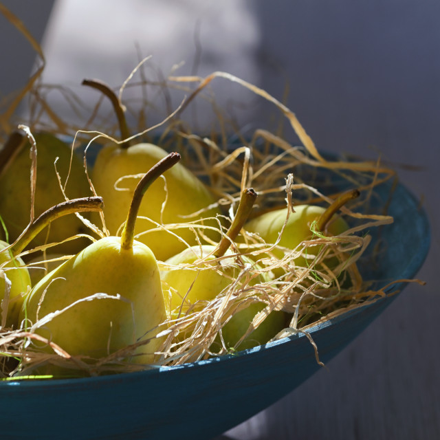 """""""Pears in blue basket"""" stock image"""