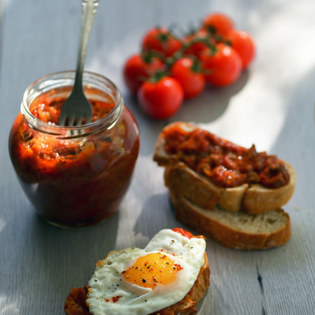 """""""Ajvar -Eggplants or cooked beans, roasted red peppers"""" stock image"""