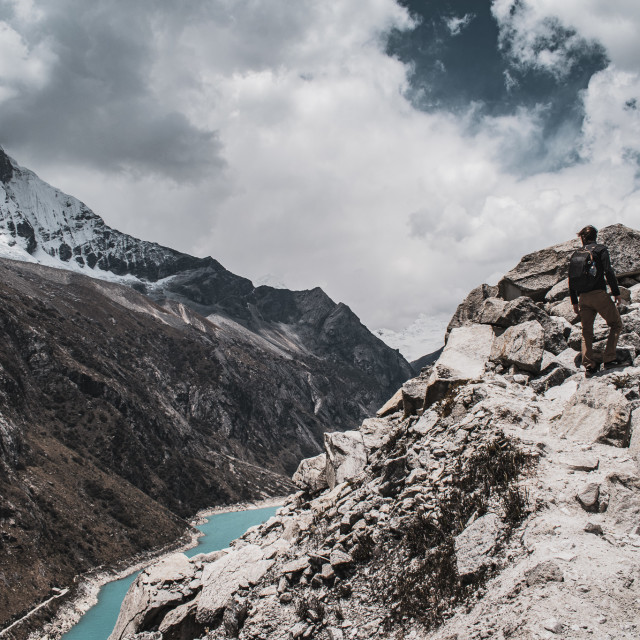 """Hiking the Cordillera Blanca, Peru"" stock image"