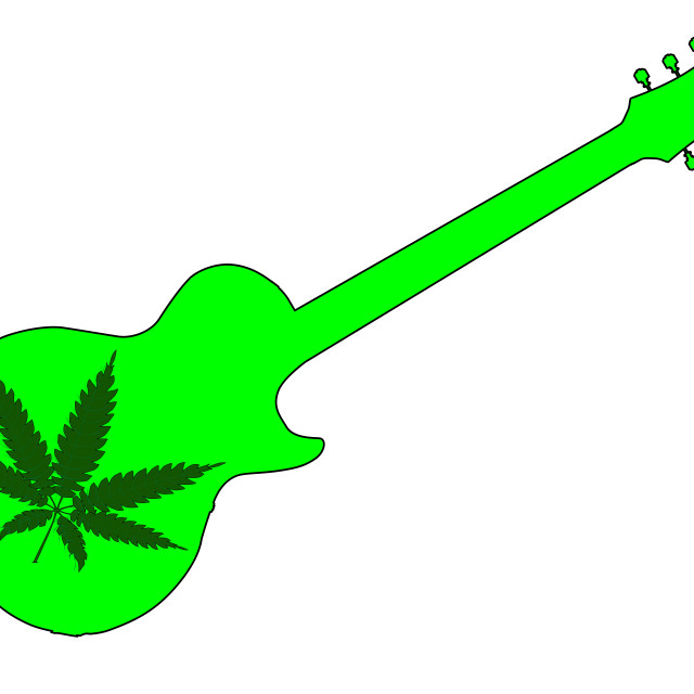 """""""Canabis Leaf Guitar"""" stock image"""