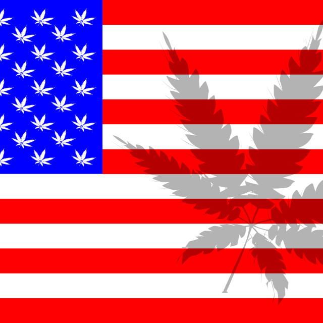 """""""Stars And Stripes With Cannabis Leaf As Stars"""" stock image"""