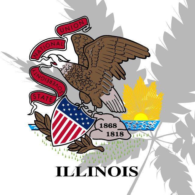"""""""Ilinois State Flag With Cannabis Shadow"""" stock image"""