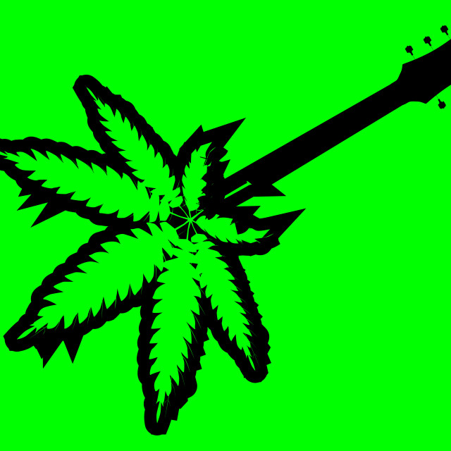 """""""Canabis Leaf Guitar Body"""" stock image"""
