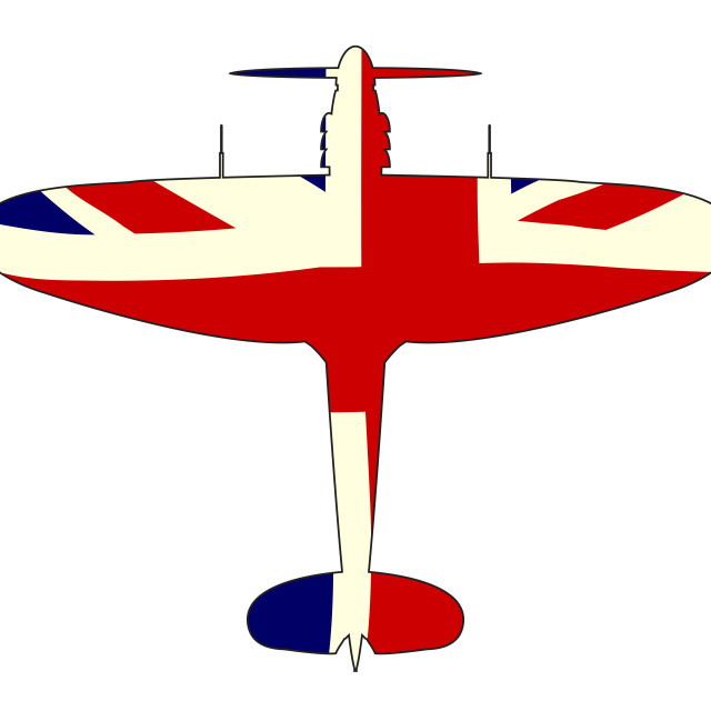 """""""World War 2 Fighter Union Jack Silhouette"""" stock image"""