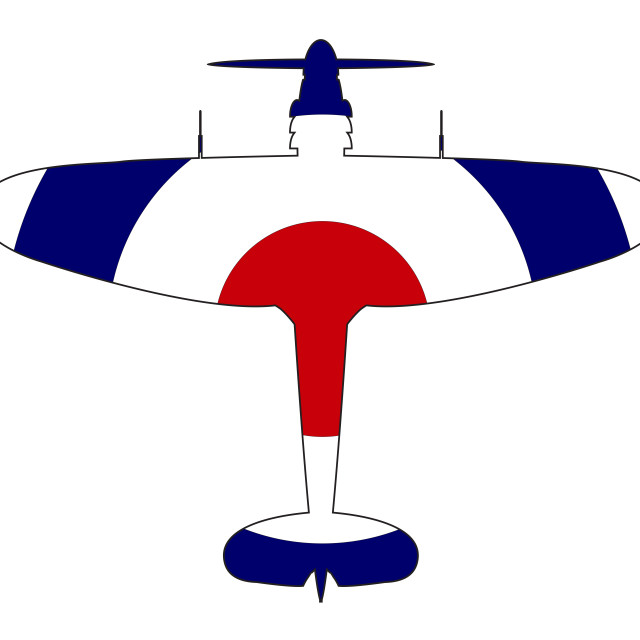 """""""World War 2 Fighter Red White Blue Silhouette"""" stock image"""