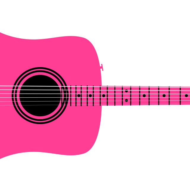"""""""Pink Acoustic Guitar"""" stock image"""