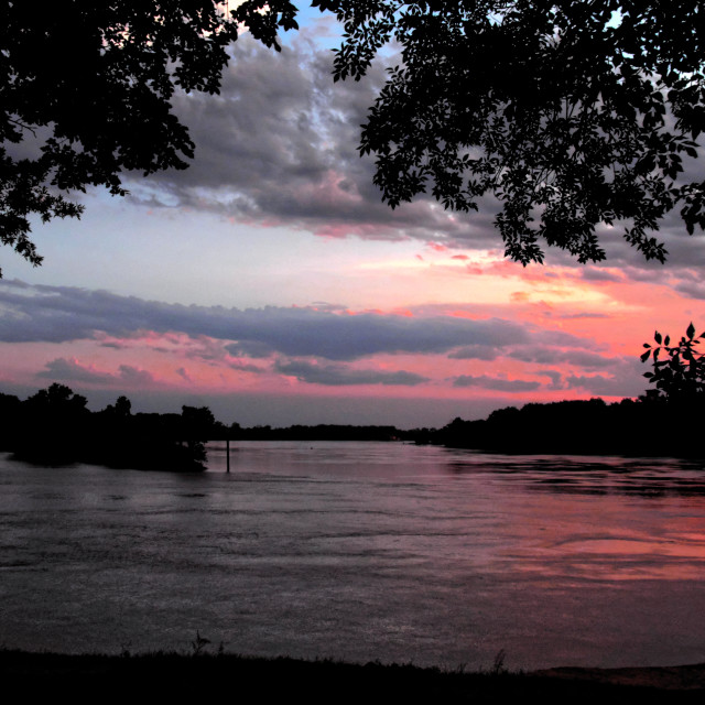 """Sunset on the Arkansas River"" stock image"