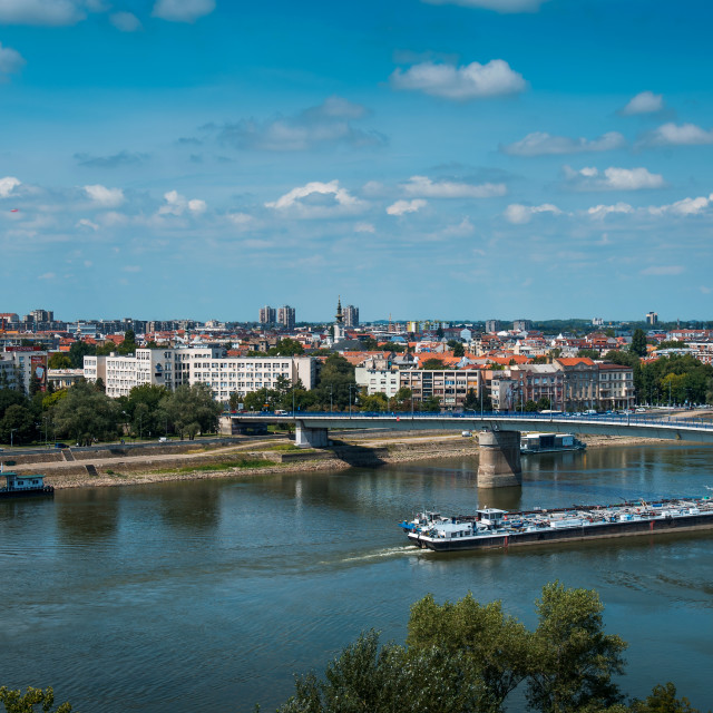 """Novi Sad city over the Danube river in north Serbia"" stock image"