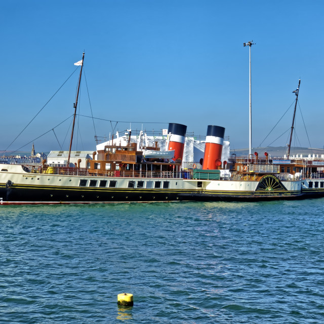 """The Paddle Steamer Waverley at Weymouth"" stock image"