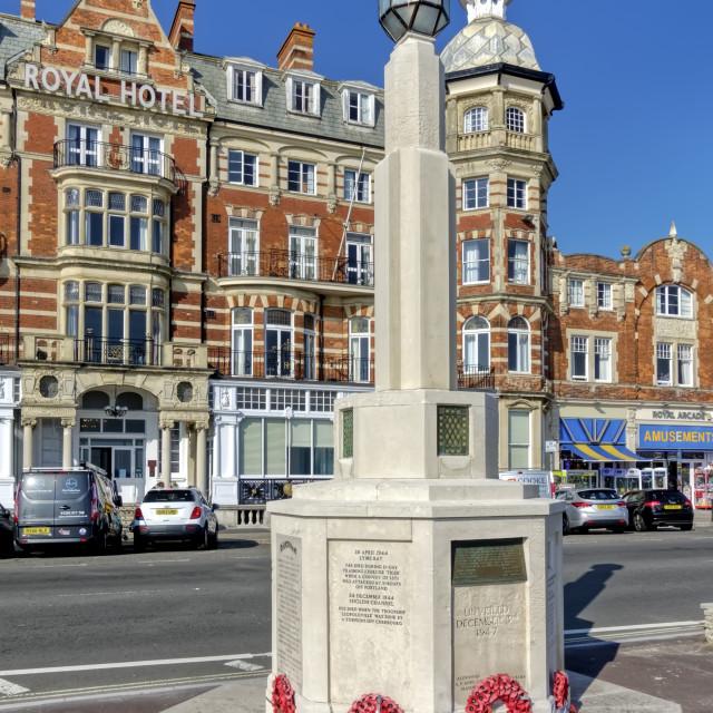 """American War Memorial, The Esplanade, Weymouth, Dorset, UK"" stock image"