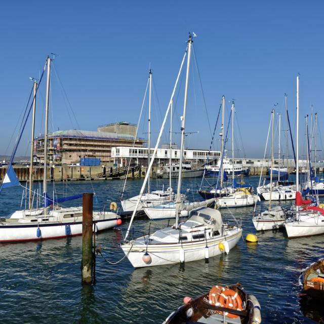 """""""Weymouth Harbour, Dorset, United Kingdom"""" stock image"""