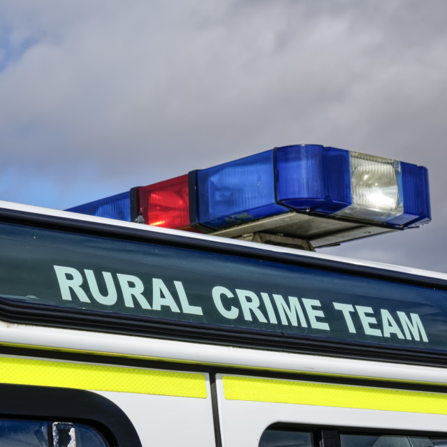 """""""Close Up of a Wiltshire Police Rural Crime Team Land Rover Defen"""" stock image"""
