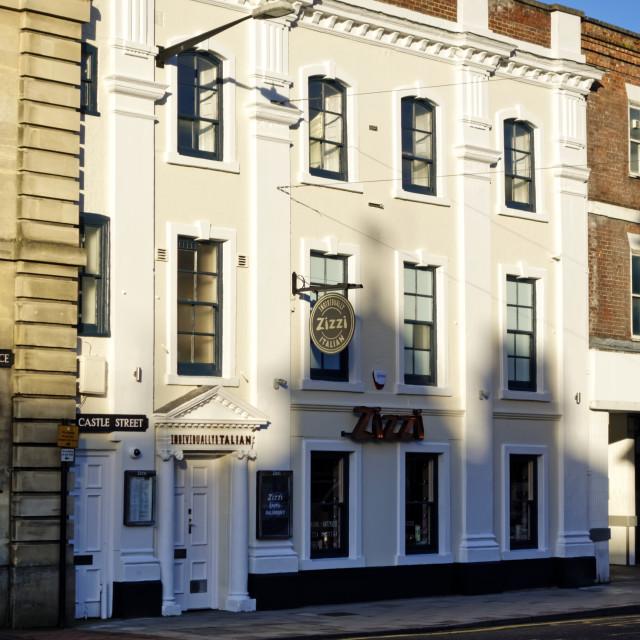 """Zizzi Italian restaurant in Castle Street, Salisbury, Wiltshire,"" stock image"