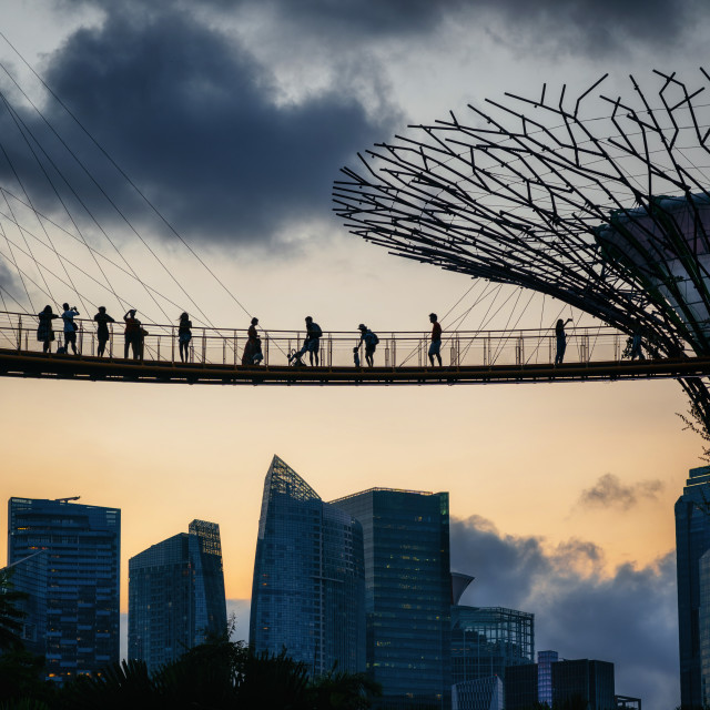 """Sunset view of famous landmarks of Singapore"" stock image"