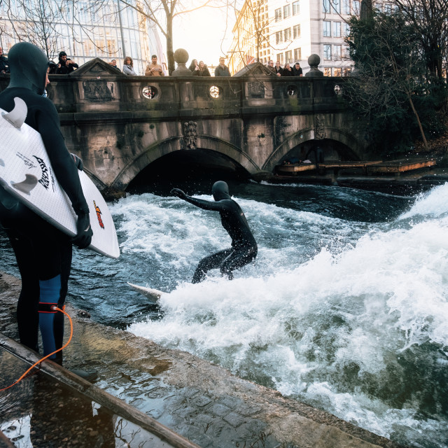 """Surfing in winter in Munich city, Germany"" stock image"