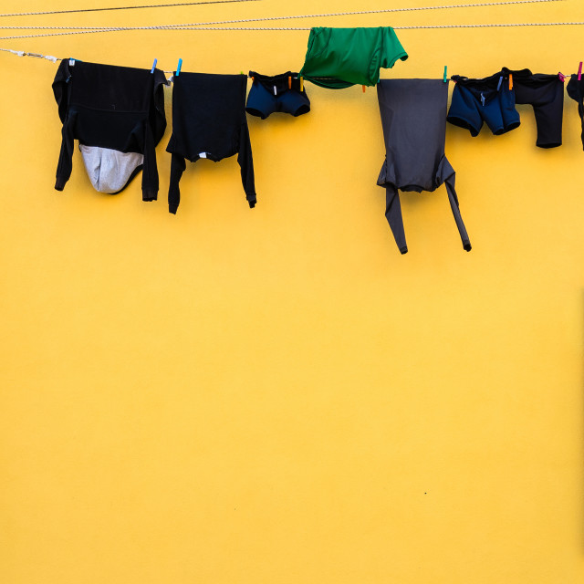 """Laundry on line house facade"" stock image"