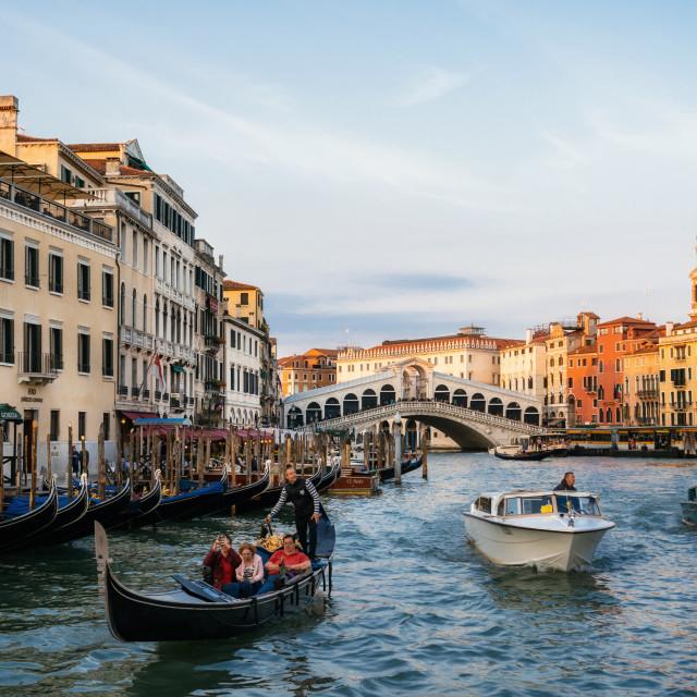 """""""Rialto Bridge on Grand Canal with gondolas and boats, Venice, Italy"""" stock image"""