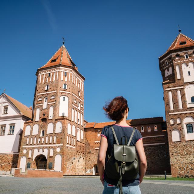 """""""Medieval castle in Mir, Belarus"""" stock image"""