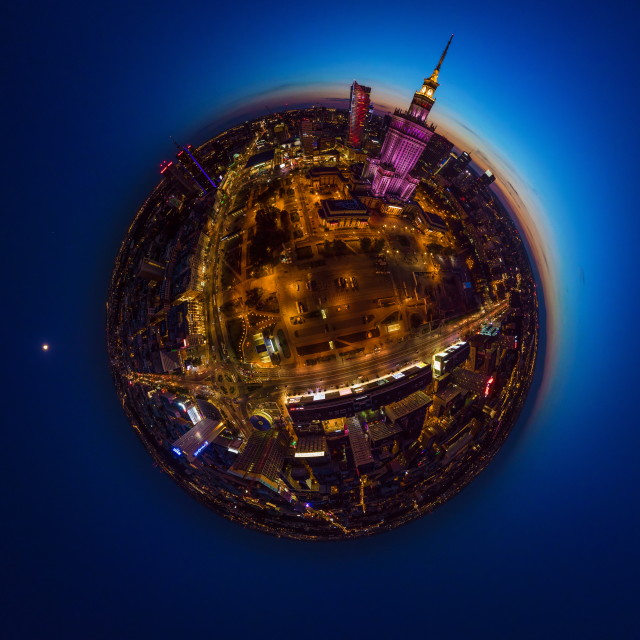 """Dusk and Moon over little planet Warsaw"" stock image"