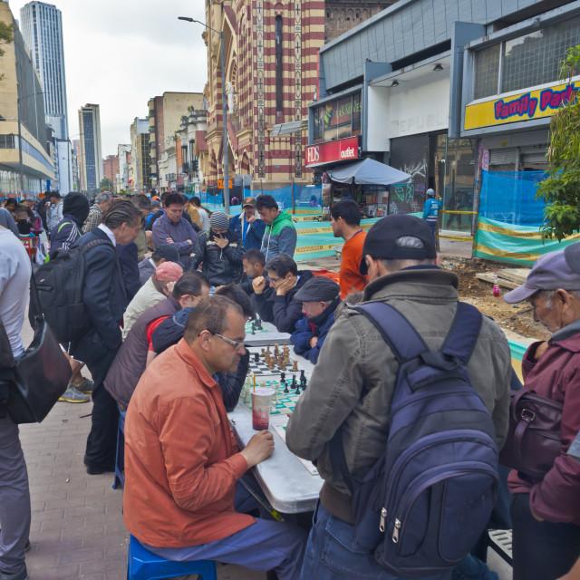 """Street chess, Carrera 7, Bogota"" stock image"