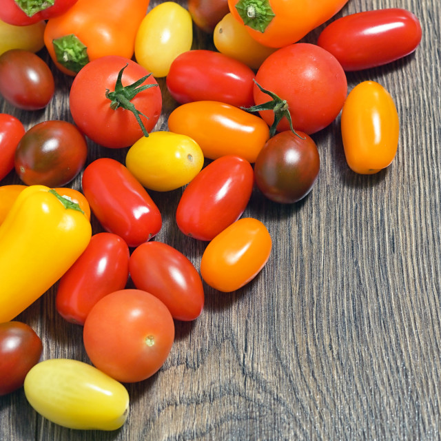 """""""Assortment of Cherry Tomatoes and Paprika Peppers"""" stock image"""