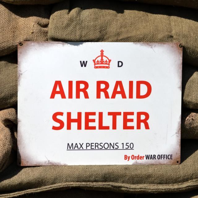 """A World War 2 Air Raid Shelter Sign"" stock image"