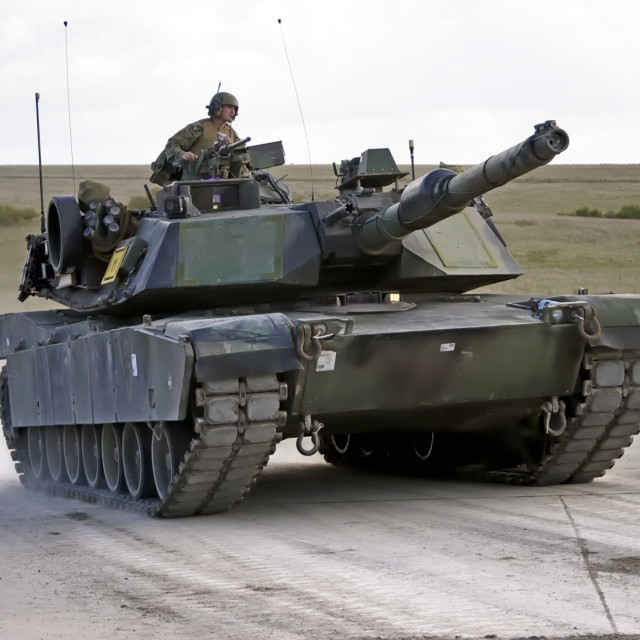 """""""A United States Army M1A1 Abrams Main Battle Tank"""" stock image"""