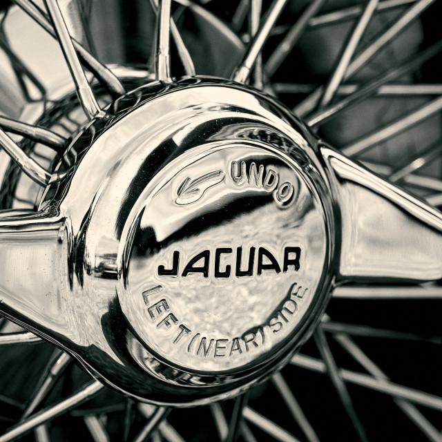 """""""Jaguar E Type Wheel Spinner"""" stock image"""