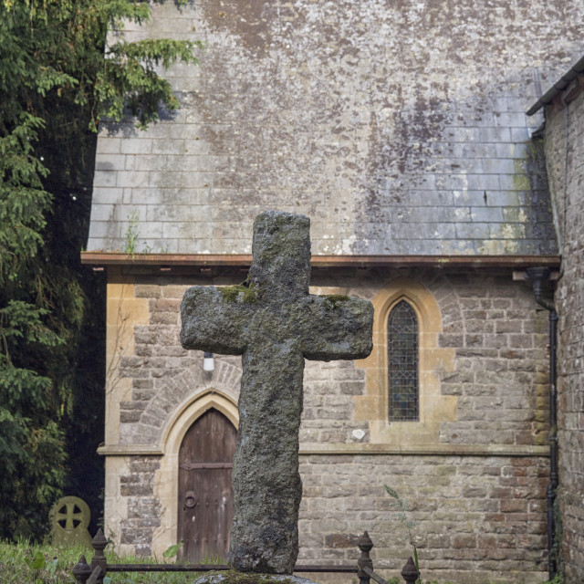 """Old stone cross"" stock image"