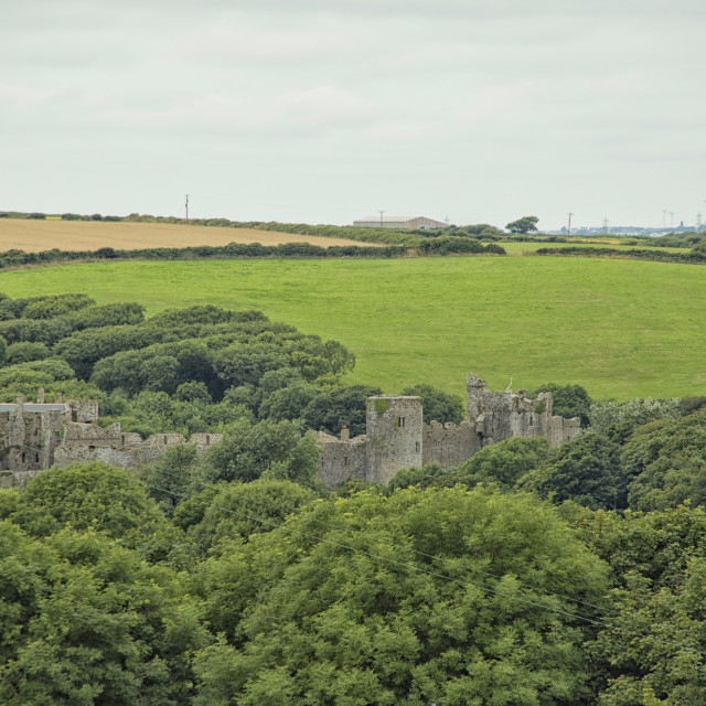 """Manorbier castle, Wales"" stock image"