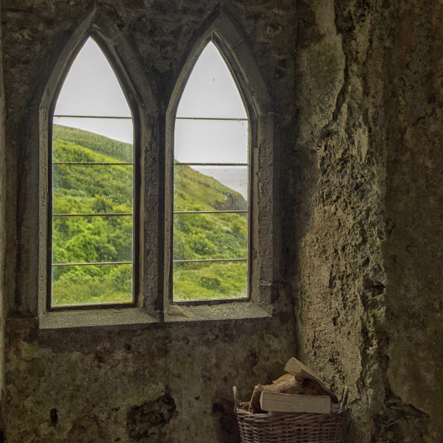 """View from a medieval castle in Wales"" stock image"