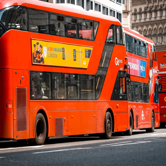 """Queue of London Red Double Decker Buses"" stock image"