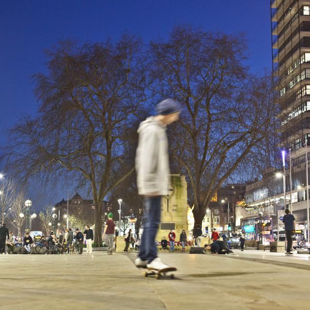 """Evening skate boarder near Bristol's Cenotaph"" stock image"