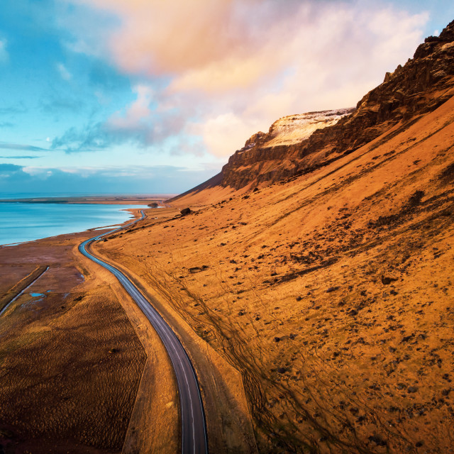 """Stunning scenery of Icelandic road in Iceland"" stock image"
