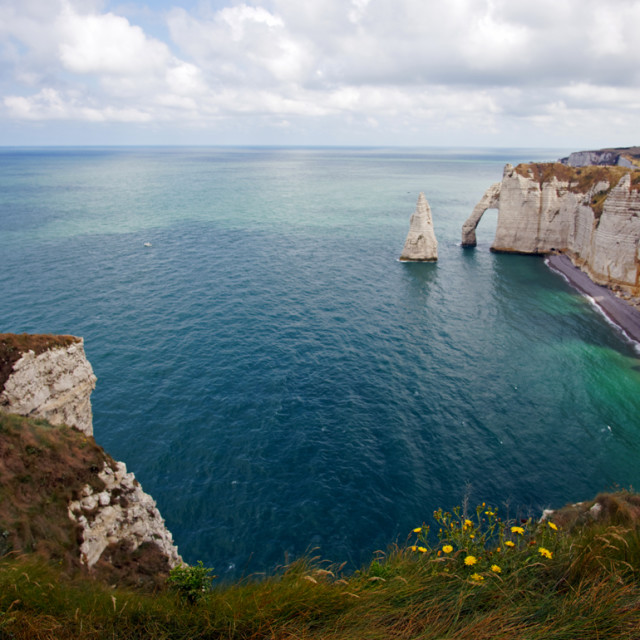 """Rock arches of Etretat"" stock image"