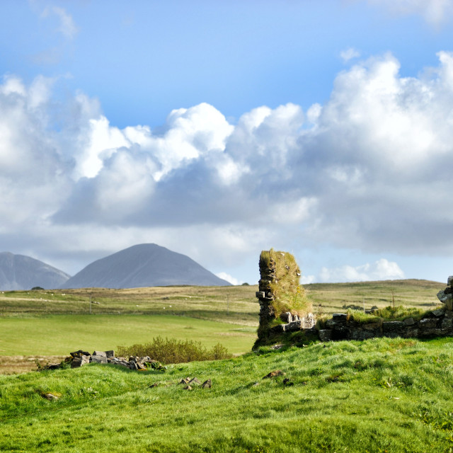 """The ruins of Finlaggan with Paps of Jura"" stock image"