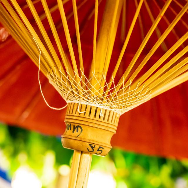 """Hand made colourful sun umbrella"" stock image"