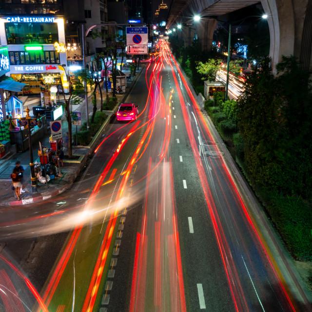 """Bangkok light trails"" stock image"