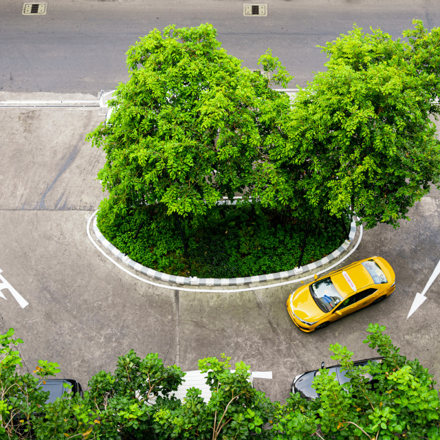 """Yellow Thai taxi cab"" stock image"