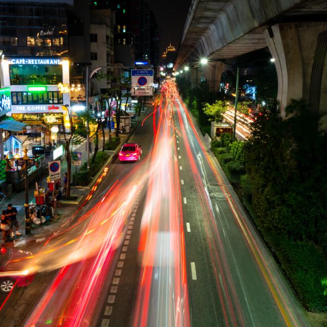 """Bangkok light trails night scene"" stock image"