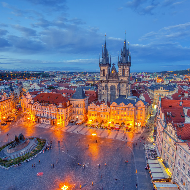 """Prague old town square and church of Mother of God before Tyn in Prague, Czech Republic."" stock image"