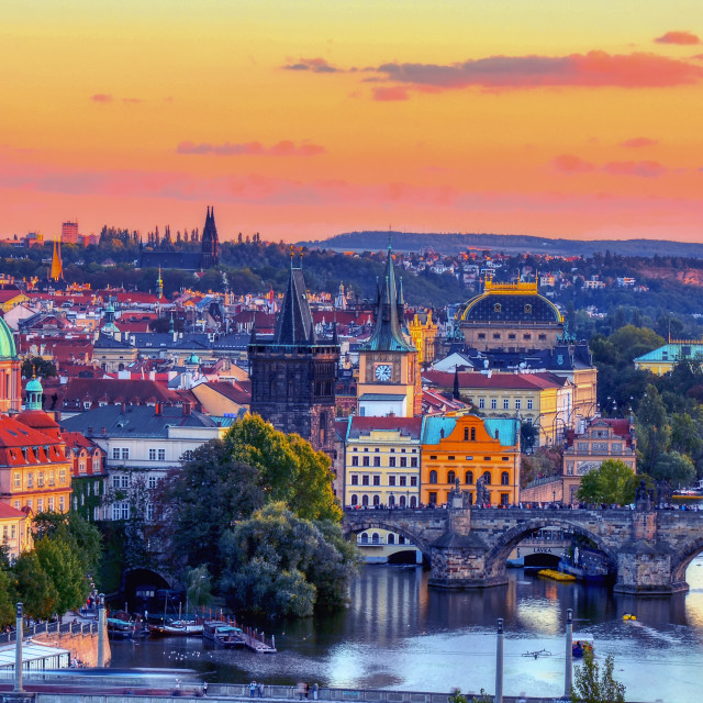 """Charles bridge, Karluv most, Prague in winter at sunrise, Czech Republic."" stock image"