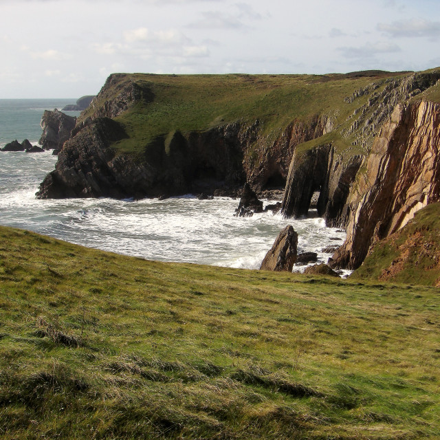 """""""A view of Bullslaughter Bay in Pembrokeshire."""" stock image"""