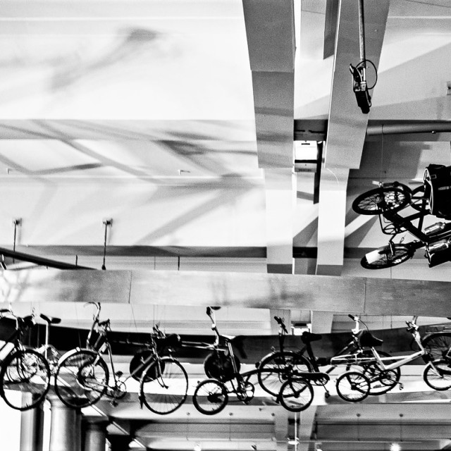 """""""Bicycles suspended from ceiling at the Science Museum in London, England."""" stock image"""