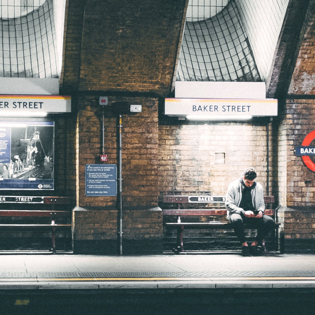 """Whiling away on Baker Street"" stock image"