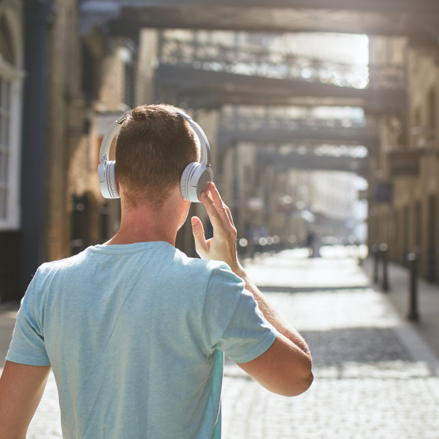 """Man with headphones listening music"" stock image"