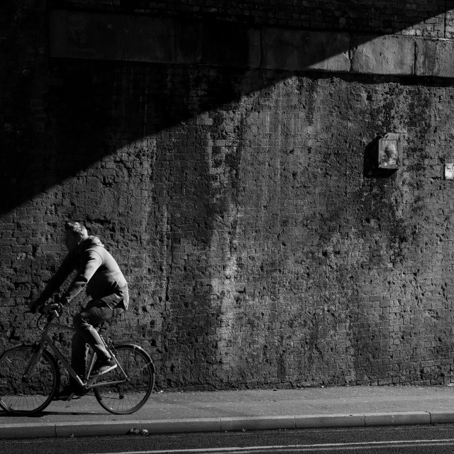 """Cycle commuter, Manchester"" stock image"