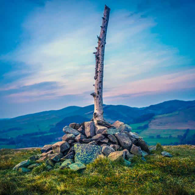 """Scottish Hilltop At Sunset"" stock image"