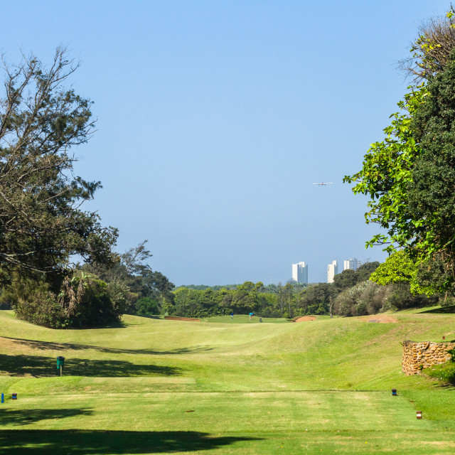 """Golf Course Coastal 1st Hole Landscape."" stock image"